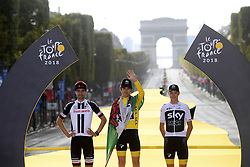 July 29, 2018 - Paris Champs-Elysees, France - PARIS CHAMPS-ELYSEES, FRANCE - JULY 29 : DUMOULIN Tom (NED) of Team Sunweb, THOMAS Geraint (GBR) of Team SKY, FROOME Chris (GBR) of Team SKY pictured on the podium during stage 21 of the 105th edition of the 2018 Tour de France cycling race, a stage of 116 kms between Houilles and Paris Champs-Elysees on July 29, 2018 in Paris Champs-Elysees, France, 29/07/18 (Credit Image: © Panoramic via ZUMA Press)