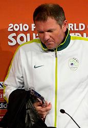 Press conference of Matjaz Kek, head coach of Slovenia National team before football match against USA at  Ellis Park Stadium on June 17, 2010 in Johannesburg, South Africa.  (Photo by Vid Ponikvar / Sportida)