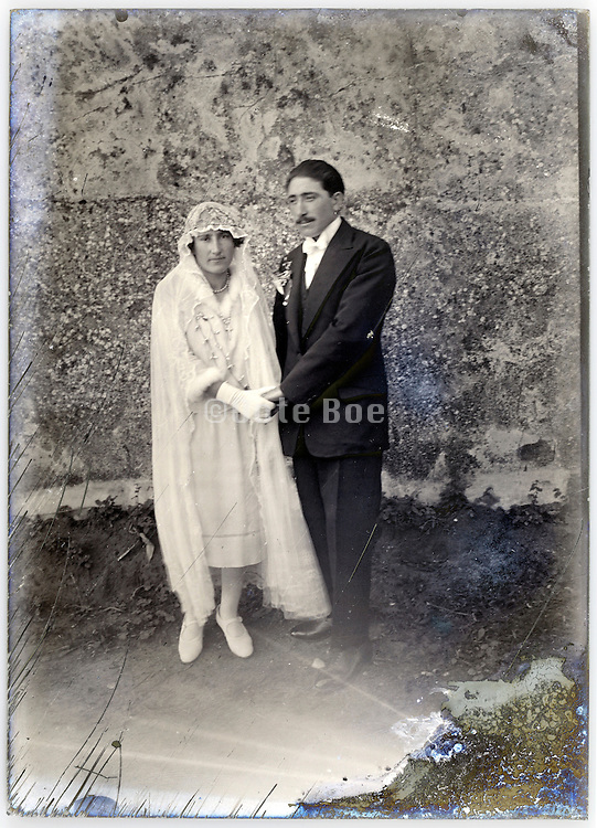 vintage early 1900s just married couple portrait