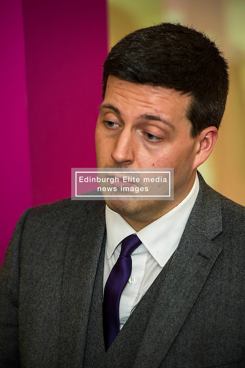 Pictured: Jamie Hepburn.<br /> <br /> Today, Minister for employability and training, Jamie Hepburn MSP visited Remploy in Edinburgh where he announced new employment services funding. Mr Hepburn gave details on cash which will develop new ways of supporting the Scottish Government's new devolved employment services. <br /> <br /> Ger Harley   EEm 21 December 2016