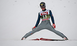 03.01.2015, Bergisel Schanze, Innsbruck, AUT, FIS Ski Sprung Weltcup, 63. Vierschanzentournee, Innsbruck, Qalifikations-Sprung, im Bild Nicholas Fairall (USA) // Nicholas Fairall of United States reacts after his qualification jump for the 63rd Four Hills Tournament of FIS Ski Jumping World Cup at the Bergisel Schanze in Innsbruck, Austria on 2015/01/03. EXPA Pictures © 2015, PhotoCredit: EXPA/ Jakob Gruber