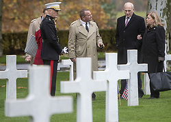 November 10, 2018 - Belleau Wood, France - U.S Joint Chiefs Chairman Gen. Joseph Dunford, left, White House Chief of Staff John Kelly, right, and their wives tour the Aisne - Marne American Cemetery near the World War One battle ground of Belleau Wood November 10, 2018 in Belleau, France. President Donald Trump was scheduled to attend the ceremony but cancelled due to inclement weather. (Credit Image: © Dominique A. Pineiro via ZUMA Wire)