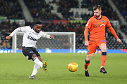 Derby County midfielder Florian Jozefzoon strikes at goal during the EFL Sky Bet Championship match between Derby County and Millwall at the Pride Park, Derby, England on 20 February 2019.