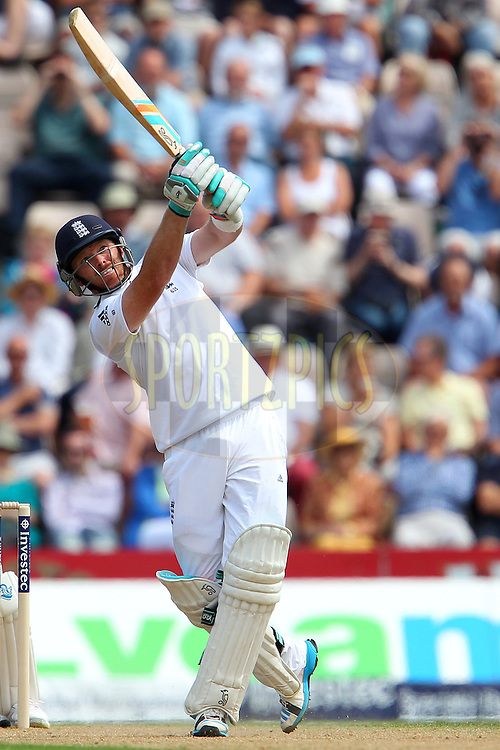 Ian Bell of England holds his pose after hitting over the top for six  during day two of the third Investec Test Match between England and India held at The Ageas Bowl cricket ground in Southampton, England on the 28th July 2014<br /> <br /> Photo by Ron Gaunt / SPORTZPICS/ BCCI