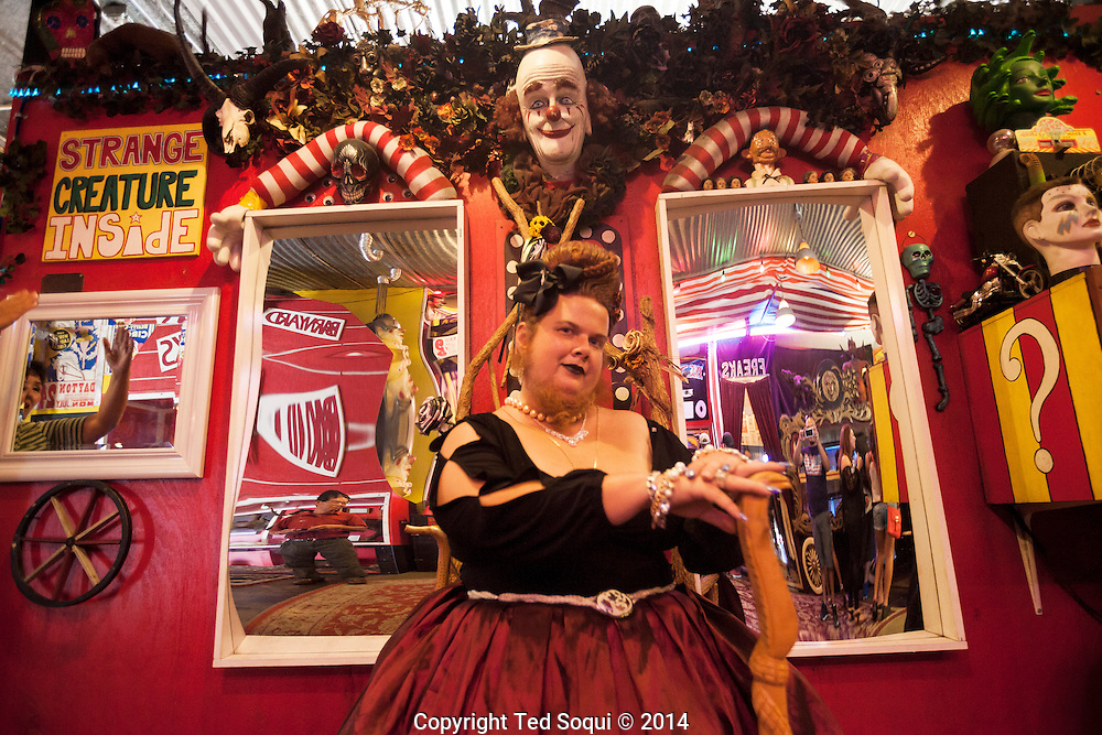Jesse the Bearded Lady at the Freakshow.<br /> Venice Beach Freakshow on the Venice Beach boardwalk. A sideshow attraction featuring freak performers and displays of the abnormal. The Freakshow is located in the middle of LA's own freakshow, Venice Beach.