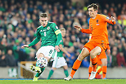 Northern Ireland midfielder Steven Davis (8) and Netherlands midfielder Marten de Roon (15) during the UEFA European 2020 Qualifier match between Northern Ireland and Netherlands at National Football Stadium, Windsor Park, Northern Ireland on 16 November 2019.