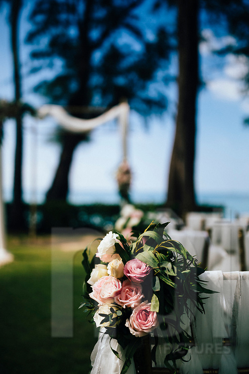 Flowers and seating at a beach wedding, Ko Samui, Thailand, Southeast Asia