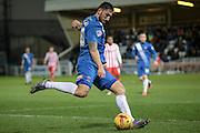 Billy Paynter (Hartlepool United) crosses the ball during the Sky Bet League 2 match between Hartlepool United and Stevenage at Victoria Park, Hartlepool, England on 9 February 2016. Photo by Mark P Doherty.