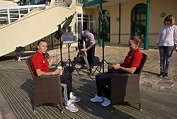 CARDIFF, WALES - Monday, April 1, 2019: Wales' Natasha Harding (L) and Hayley Ladd during a media session at the Vale Resort ahead of a friendly against the Czech Republic. (Pic by David Rawcliffe/Propaganda)
