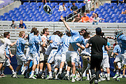 05/25/2014 - Baltimore, Md. - Tufts goalkeeper Patton Watkins, A14, celebrates after the final buzzer of Tufts' 12-9 win over Salisbury to win the NCAA Division III Men's Lacrosse National Championship game at M&T Bank Stadium on May 25, 2014. (Kelvin Ma/Tufts University)