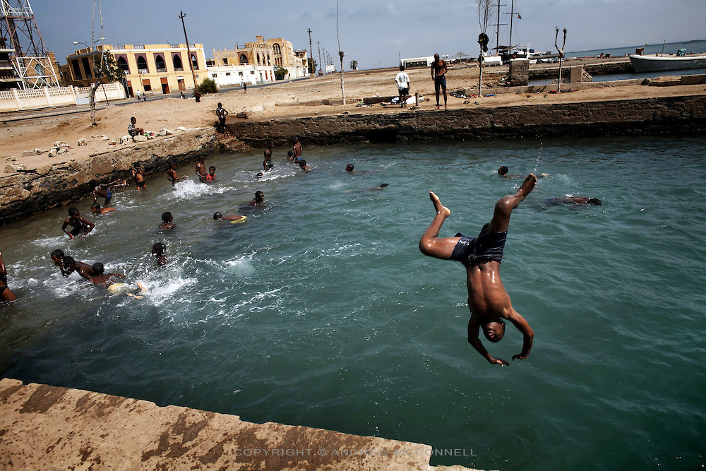 Children play in an ocean swimming pool in the coastal town of Massawa, Eritrea.