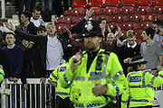 Sheffield United fans at the final whistle during the Sky Bet League 1 Play Off Second Leg match between Swindon Town and Sheffield Utd at the County Ground, Swindon, England on 11 May 2015. Photo by Shane Healey.