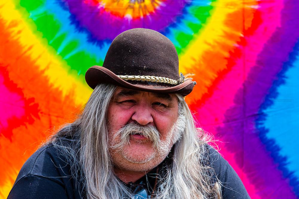 Old hippie, 420 Cannabis Culture Music Festival, Civic Center Park, Downtown Denver, Colorado USA.
