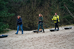 Michelle, Anouk and Ellen in training for the Camino 2020 at the Soesterduinen on March 08, 2020 in Soest, Netherlands