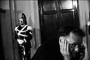 Consultazioni del Presidente della Repubblica con i gruppi parlamentari di Camera e Senato per la crisi di governo. Sala della Loggia, Quirinale. Roma 09 dicembre 2016. Christian Mantuano / OneShot<br /> <br /> Members of Reggimento Corazzieri, the Cuirassier Regiment elite military unit and the honor guard of the Italian President, stand guard during the consultations of political parties and parliamentary representatives, to work on a new cross-party coalition government, on December 9, 2016 at the Quirinale palace in Rome. Christian Mantuano / OneShot