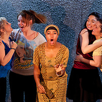 Picture shows :  Glasgow Girls Dress Rehearsal..(l-r)   Dawn Sievewright, Stephanie McGregor, Amaka Okafor, Roanna Davidson and Frances Thorburn. ...Picture © Drew Farrell. Tel 07721-735041...National Theatre of Scotland, Theatre Royal Stratford East, Citizens Theatre, Pachamama Productions, Richard Jordan Productions Ltd in association with Merrigong Theatre Company (Australia) present..WORLD PREMIERE of Glasgow Girls opens 31 October 2012 at the Citizens Theatre, Glasgow.Inspired by a true story.Conceived for the stage and directed by Cora Bissett. Book by David Greig.Music and Lyrics by Cora Bissett, Sumati Bhardwaj (MC Soom T), Patricia Panther and John Kielty.  Set Design by Merle Hensel, Musical Direction by Hilary Brooks, Choreography by Natasha Gilmore, Lighting Design by Lizzie Powell and Sound Design by Fergus O'Hare..The full cast is: Callum Cuthbertson, Ameira Darwish, Roanna Davidson, Stephanie McGregor, Myra McFadyen, Amaka Okafor, Patricia Panther, Dawn Sievewright and Frances Thorburn. ..Based on the true story of one of the most vocal and powerful asylum campaigns to catch the imagination of the media and inspire a community to unite behind its residents, Glasgow Girls is a brand new life-affirming Scottish musical with seven strong female leads and a vibrant multi-cultural voice at its heart. The musical promises to be a celebration of Glasgow and the power of teenagers with a cause.??The Glasgow Girls are a group of seven young women who have highlighted the poor treatment of failed asylum seekers. The group of girls from Drumchapel High School protested against the detention of one of their friends, Agnesa Murselaj, who had fled from war-torn Kosovo. Publicity grew as the girls challenged the First Minister and publicly voiced their concerns as more children at their school were dawn raided, detained and deported. Two BBC television documentaries have been made of their story. .Press contacts:..Clare McCormack, Press Officer.Tel: +44 (0)141 227 9