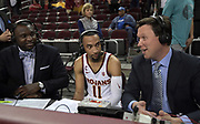 Feb 15, 2018; Los Angeles, CA, USA;  Southern California Trojans guard Jordan McLaughlin (11) is interviewed by ESPN2 analyst Corey Williams (left) and play-by-play broadcaster Dave Fleming after an NCAA basketball game against the Oregon Ducks at Galen Center. USC defeated Oregon 72-70.