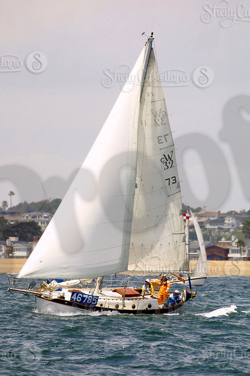 Apr 26, 2002; Newport Beach, California, USA; 'T.L. Sea' ranked 225th geting ready for a stormy ride at the start of the 55th annual 125 mile Newport to Ensenada Yacht Race.<br />