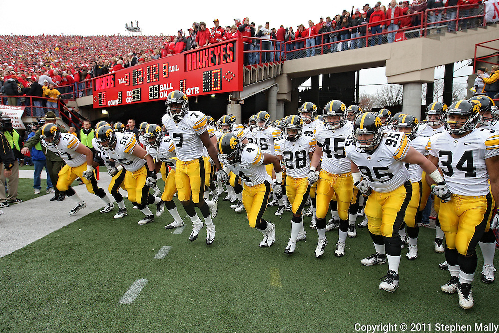 November 25, 2011: Iowa Hawkeyes wide receiver Marvin McNutt (7) and the rest of the team take the field before the start of the first half of the NCAA football game between the Iowa Hawkeyes and the Nebraska Cornhuskers at Memorial Stadium in Lincoln, Nebraska on Friday, November 25, 2011.