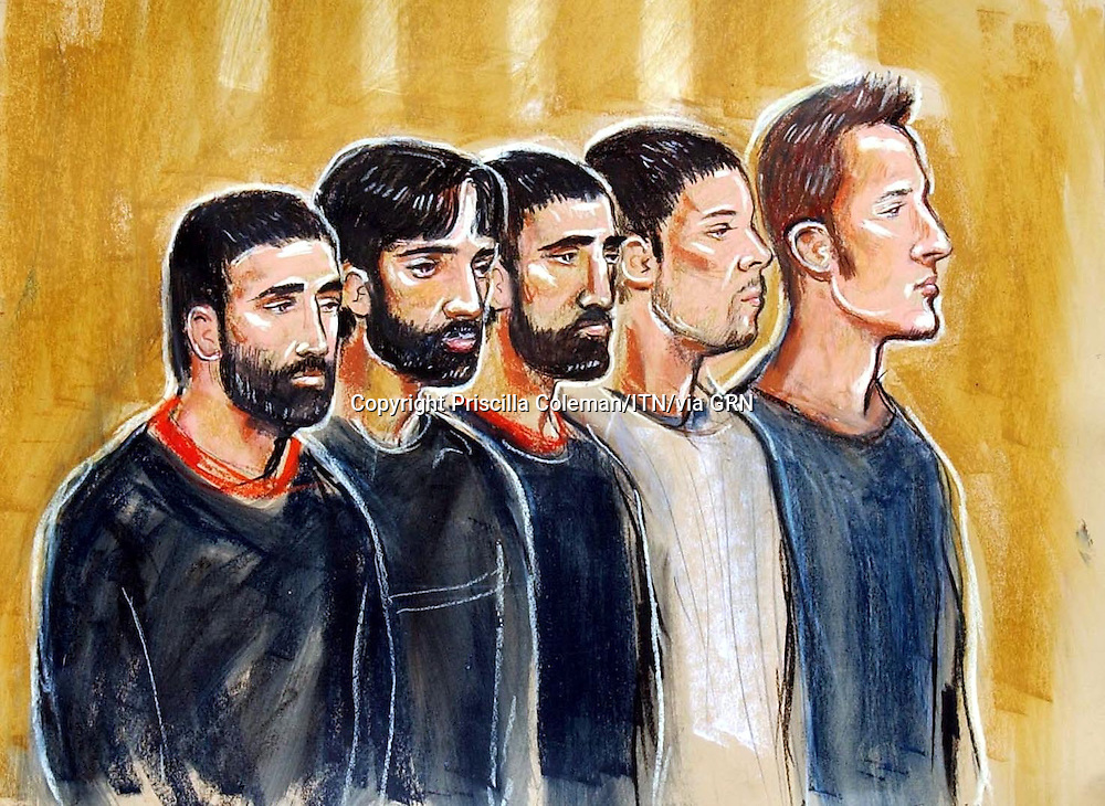 ©PRISCILLA COLEMAN ITV 10.04.04.ARTWORK SHOWS : (FROM LEFT TO RIGHT) OMAR KHYAM (22), JAWAD AKBAR (20), WAHEED MAHMOUD(32), NABEEL HUSSAIN(18) IN THE DOCK AT WOOLWICH MAGISTATES COURT. KYHAM, GARCIA, MAHMOUD AND AKBAR ARE CHARGED WITH CONSPIRACY TO CAUSE AN EXPLOSION LIKELY TO ENDANGER LIFE. KYHAM, GARCIA AND HUSSAIN ARE CHARGED WITH POSSESSION OF AN ARTICLE FOR THE PURPOSES OF TERRORISM. ALL FIVE WIILL APPEAR AT THE CENTRAL CRIMINAL COURTS ON THURSDAY 15TH OF APRIL.