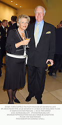 DAME VIVIEN DUFFIELD the multi millionaire art benefactor and SIR JOCELYN STEVENS, at an exhibition in London on 6th May 2003.PJI 246