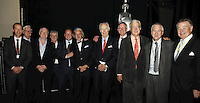 Geoff Taylor (BPI Chief Executive), Sir Cyril Taylor CBE, Tony Wadsworth CBE (BPI Chairman), Clive Rich, Ed Vaizey MP,  Rob Dickins CBE, Sir George Martin CBE, John Deacon CBE, Lord Baker of Dorking, Nick Williams (BRIT School Principal) and John Craig  OBE (l-r). The BRIT School, The BRIT School Industry Day, Croydon, London..Thursday, Sept.22, 2011 (John Marshall JME)
