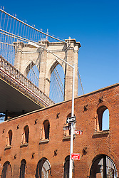 Brooklyn Bridge over the Tobacco Warehouse in Dumbo, Brooklyn