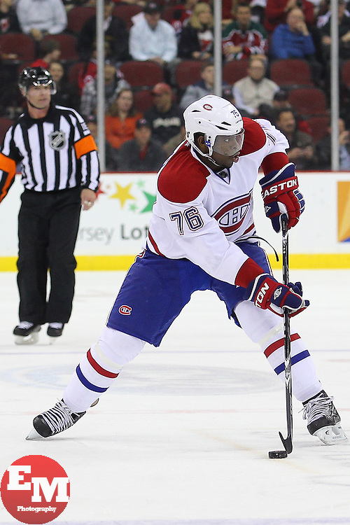 Apr 23, 2013; Newark, NJ, USA; Montreal Canadiens defenseman P.K. Subban (76) skates with the puck during the first period of their game against the New Jersey Devils at the Prudential Center.
