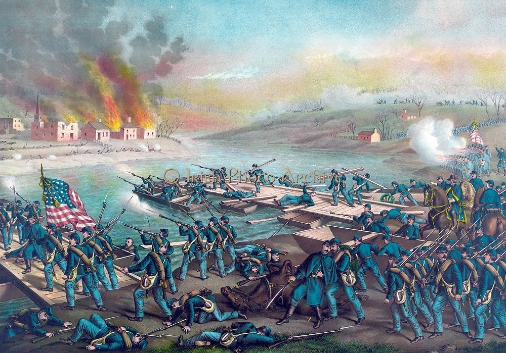 American Civil War 1861-1865: Battle of Fredericksburg, Virginia, 11-15 December 1862. Army of the Potomac (Union) under Burnside crossing the Rappahannock, 13 December. Confederate victory under  Lee.  Kurz & Allison c1888