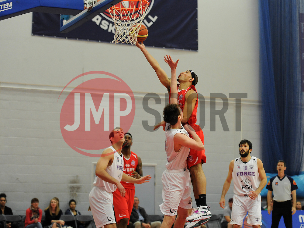 Bristol Flyers' Greg Streete shoots - Photo mandatory by-line: Dougie Allward/JMP - Mobile: 07966 386802 - 18/04/2015 - SPORT - Basketball - Bristol - SGS Wise Campus - Bristol Flyers v Leeds Force - British Basketball League