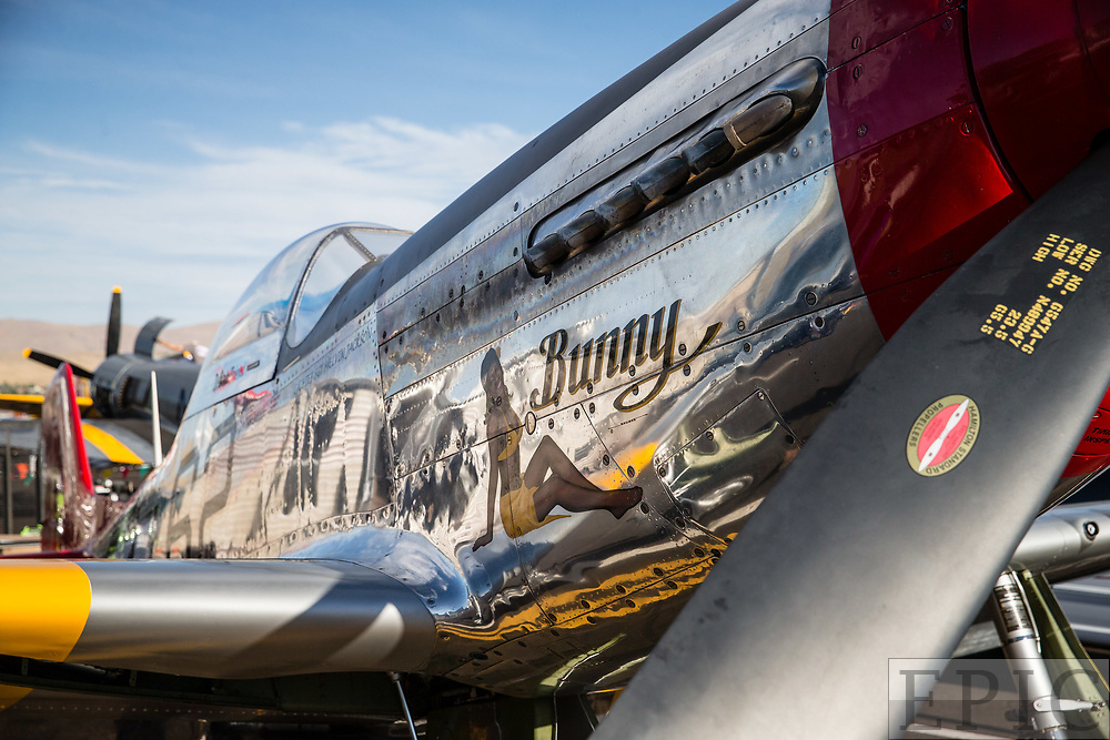 RENO, NV - SEPTEMBER 13: The plane of Tom Nightingale named Bunny sits waiting to fly at the Reno Championship Air Races on September 13, 2017 in Reno, Nevada. (Photo by Jonathan Devich/Getty Images) *** Local Caption *** Tom Nightingale