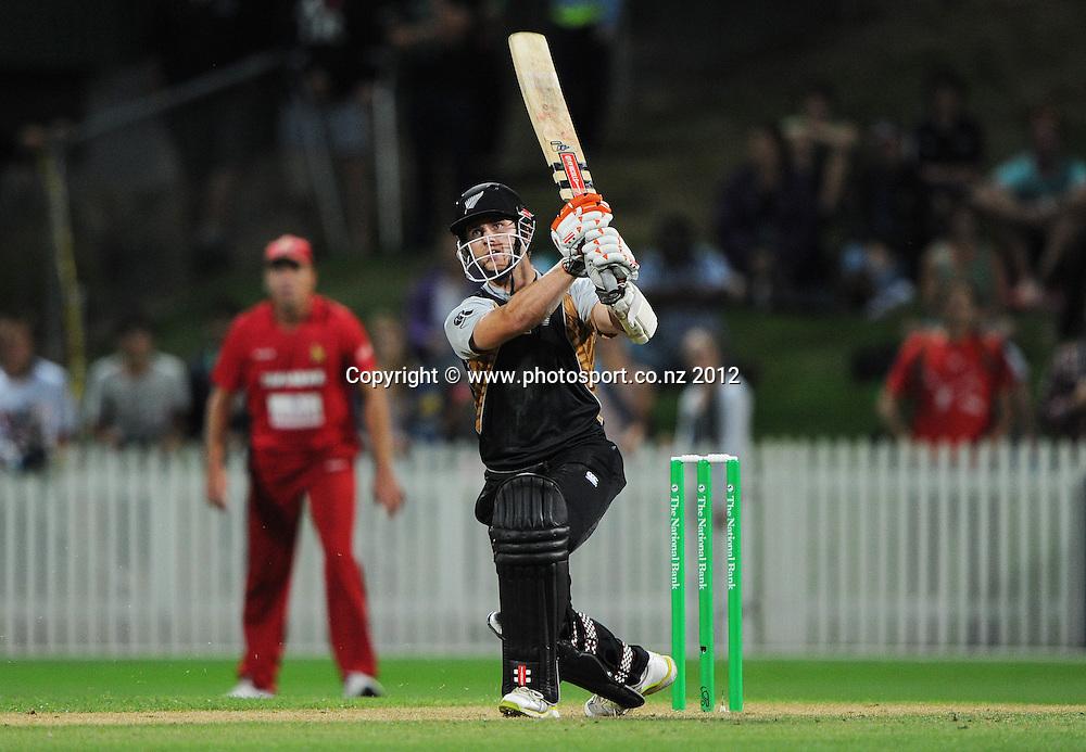 Kane Williamson hits a 6 during the 2nd Twenty20 InternationaI cricket match between New Zealand and Zimbabwe at Seddon Park in Hamilton, New Zealand on Tuesday 14 February 2012. Photo: Andrew Cornaga/Photosport.co.nz