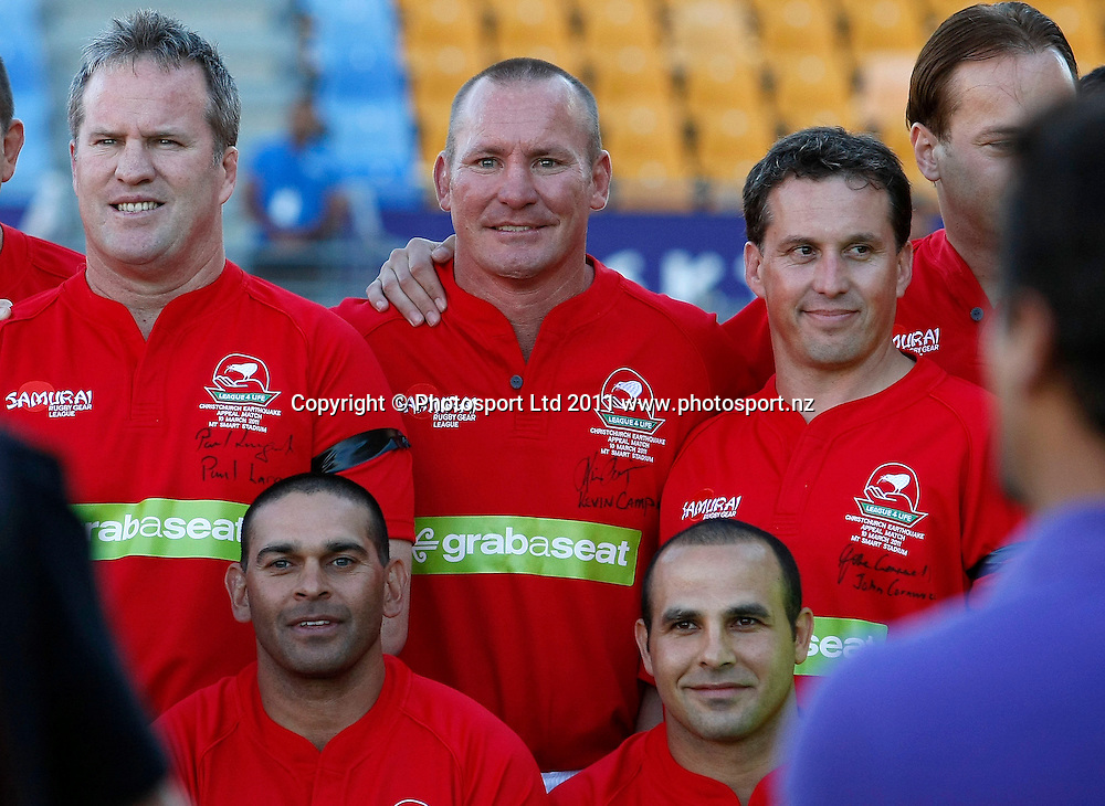 Backrow, L_R, Paul Langmack, Kevin Campion, trademe auction winner John Cronwell, Front, L_R, David Peachey and Hazim El Masri. Australia and New Zealand Legends of League Christchurch Earthquake Appeal Match, Mt Smart Stadium, Auckland, New Zealand, Thursday 10 March 2011. Photo: Simon Watts / photosport.co.nz