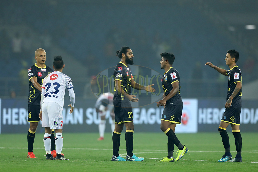 Ronald Singh of ATK with team players after the match 43 of the Hero Indian Super League between Delhi Dynamos FC and Kerala Blasters FC  held at the Jawaharlal Nehru Stadium, Delhi, India on the 10th January 2018<br /> <br /> Photo by: Arjun Singh  / ISL / SPORTZPICS