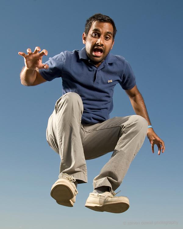 "Comedian and actor Aziz Anwari poses for a portrait backstage at the Sasquatch Music Festival on May 29th, 2009. Gear: Nikon D700, 24-120mm Lens, Speedotron Black Line 1205cx, 22"" Speedotron beauty dish with with 30 degree grid for highlight."