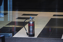 © Licensed to London News Pictures. 16/10/2018<br /> Bromley, UK.<br /> Fire extinguisher in door way.<br /> A 50 year old man has been arrested by police after trying to set him self on fire in the Metro Bank in Bromley High, Bromley. The bank has been closed and police are on scene with bank staff.<br /> Photo credit: Grant Falvey/LNP
