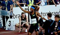 Friidrett , 7. juni 2018 Bislett Games ,, Karsten Warholm bak vinneren Abderrahman Samba