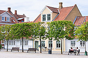 Street scene in the old town in Odense on Funen Island, Denmark