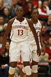 Dec 20, 2011; Stanford CA, USA;  Stanford Cardinal forward Chiney Ogwumike (13) and forward Nnemkadi Ogwumike (30) defend against the Tennessee Lady Volunteers during the second half at Maples Pavilion.  Stanford defeated Tennessee 97-80. Mandatory Credit: Jason O. Watson-US PRESSWIRE