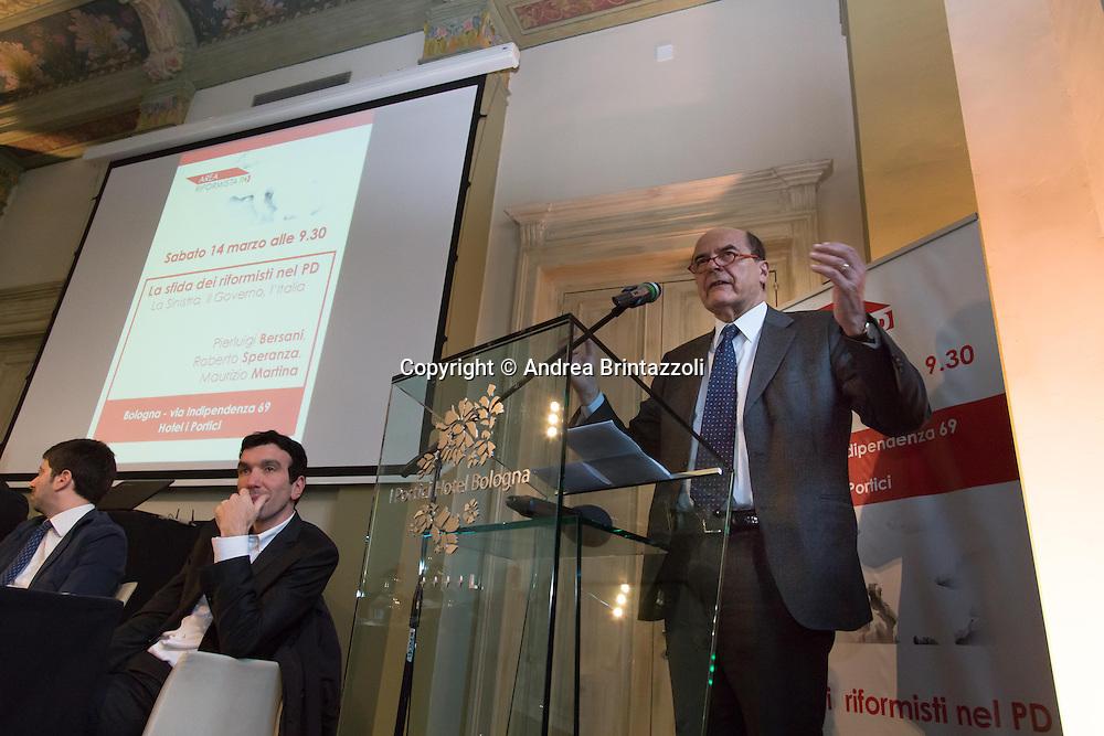 Bologna 14 Marzo 2015 Area riformista del PD si incontra a Bologna per discutere delle riforme proposte dal Governo e della legge elettorale<br /> Nella Foto: PierLuigi Bersani ex segretario del Partito Democratico