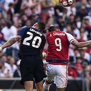 United States Defender GEOFF CAMERON (20) and Paraguay Attacker ANTONIO SANABRIA (9) dive for the ball in the first half of a Copa America Centenario Group A match between the United States and Paraguay Saturday, June. 11, 2016 at Lincoln Financial Field in Philadelphia, PA.