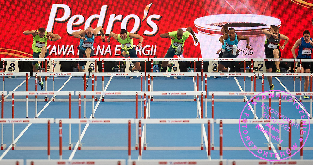 (L-R) Daniel Kiss from Hungary and Artur Noga from Poland and Balazs Baji from Hungary and Dayron Robles from Cuba and Damien Broothaerts from Belgium and Michal Kula and Kacper Schubert both from Poland compete in men's 60 meters hurdles during athletics meeting Pedro's Cup at Atlas Arena in Lodz, Poland.<br /> <br /> Poland, Lodz, February 17, 2015<br /> <br /> Picture also available in RAW (NEF) or TIFF format on special request.<br /> <br /> For editorial use only. Any commercial or promotional use requires permission.<br /> <br /> Adam Nurkiewicz declares that he has no rights to the image of people at the photographs of his authorship.<br /> <br /> Mandatory credit:<br /> Photo by &copy; Adam Nurkiewicz / Mediasport