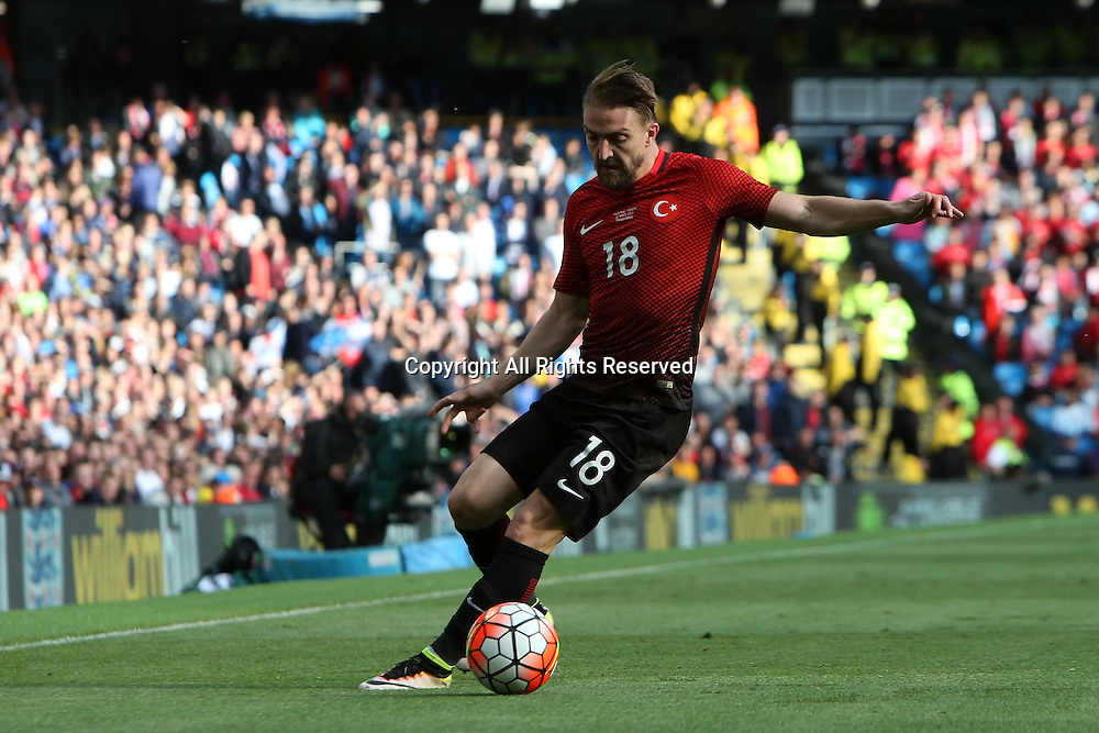 22.05.2016. Etihad Stadium, Manchester, England. International football friendly match, England versus Turkey. Caner Erkin of Turkey controls the ball in a wide position.