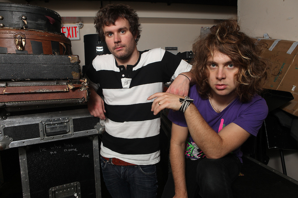 NEW YORK - JUNE 23:  (L to R) Cody Votolato and Johnny Whitney of Jaguar Love pose for a portrait before their performance at the Nylon Summer Music Tour at Highline Ballroom on June 23, 2009 in New York City.  (Photo by Roger Kisby/Getty Images)