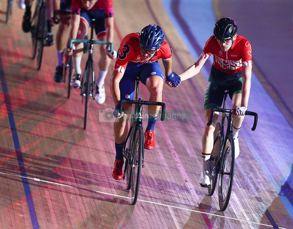 October 26, 2017 - London, England, United Kingdom - Moritz Augenstein (GER)(BLACK) and Nils Weispennig (GER) (RED)..compete in the 40km Madison 1878 Cup during day three of the London Six Day Race at the  Lee Valley Velopark Velodrome on October 26, 2017 in London, England. (Credit Image: © Kieran Galvin/NurPhoto via ZUMA Press)