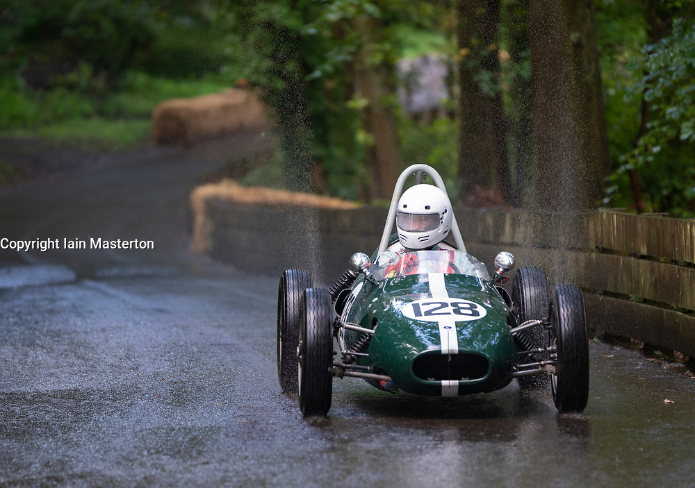 Boness Revival hillclimb motorsport event in Boness, Scotland, UK. The 2019 Bo'ness Revival Classic and Hillclimb, Scotland's first purpose-built motorsport venue, it marked 60 years since double Formula 1 World Champion Jim Clark competed here.  It took place Saturday 31 August and Sunday 1 September 2019. 128 Gordon Wright. Britannia FJ