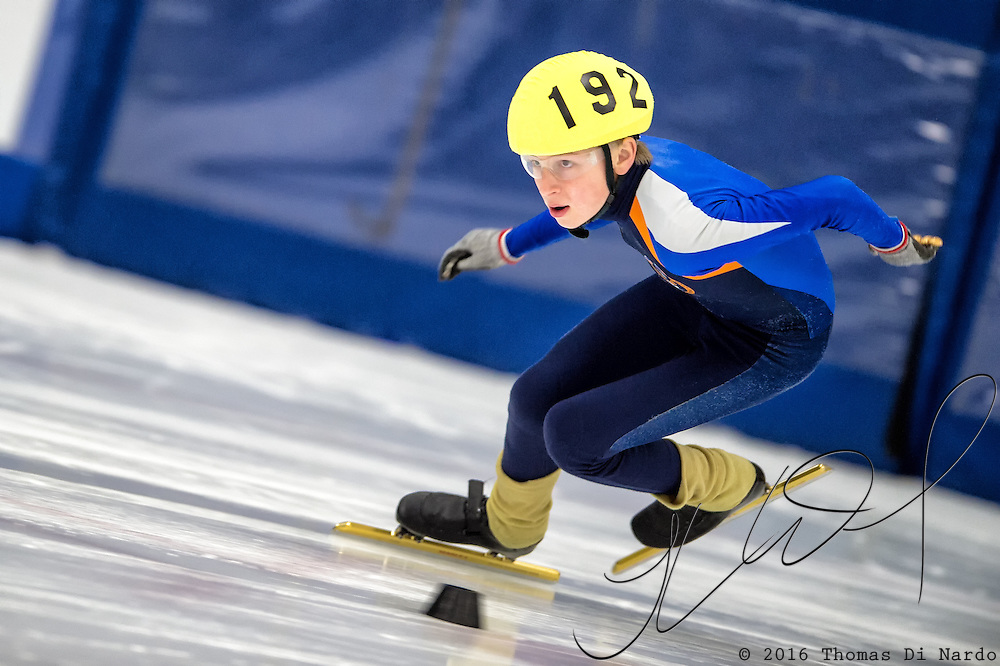 March 20, 2016 - Verona, WI - Jordan Stolz, skater number 192 competes in US Speedskating Short Track Age Group Nationals and AmCup Final held at the Verona Ice Arena.
