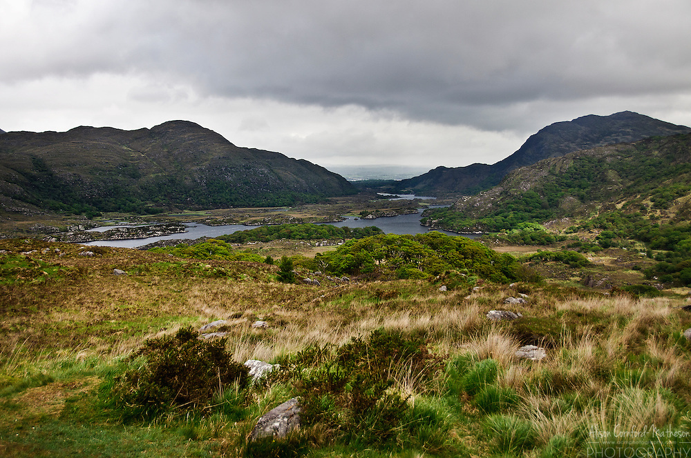A scenic view of the lakes of Killarney in Killarney National Park, County Kerry, Ireland.