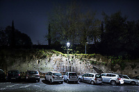 ROME, ITALY - 20 MARCH 2017: A white LED street lamp with its glass panes removed is seen here in the Monti neighborhood in Rome, Italy, on March 20th 2017.<br /> <br /> Rome is undergoing a city-wide plan to change its public illumination from the current yellow sodium street lights CK to white LED lamps. In making the change, Rome joins a long line of cities around the world that have switched to the cheaper, and more environmentally friendly LED lighting, and it is not the first city where that change has come at the price of protest.<br /> <br /> Since July, some 100,000 led lights have already been installed, just over half the number that will be substituted in the 53 million euro changeover that is expected to save the city millions of euros in electrical bills. But when Rome's municipal electrical utility ACEA began to substitute the lamps in Rome's historic center, residents began to take note.
