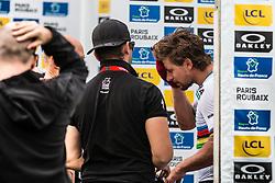 Peter SAGAN of Bora-Hansgrohe cleaning his face for the podium ceremony after the 2018 Paris-Roubaix race at Velodrome Roubaix, France, 8 April 2018, Photo by Pim Nijland / PelotonPhotos.com   All photos usage must carry mandatory copyright credit (Peloton Photos   Pim Nijland)